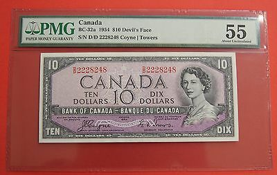 ✪ 1954 $10 Bank of Canada Devil Face D/D - 189.95 PMG About Uncirculated 55