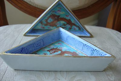 Pair Chinese Famille Rose Turquoise Dragon Sweetmeat Dishes Daoguang Mark 19c
