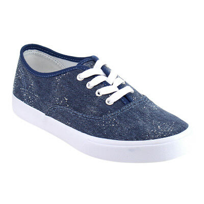 Women's Lace Up Stitched Fashion Athletic Sneaker BLUE DENIM Size 7