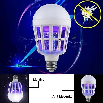 E27 15W LED Zapper Anti Mosquito Light Bulb Lamp Flying Insects Moths Killer New