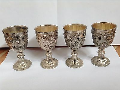 "Mini Goblet Wine Taster Cup 3 1/2"" Tall Set of 4 Silver metal"