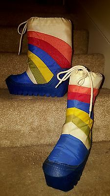 Vtg Multi-Color Rainbow Striped Snow / Ski Boots Womens Sz 7 - 8 Unisex