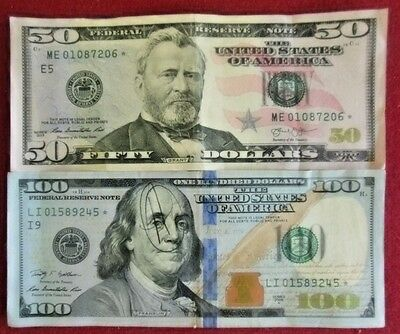 2013 $50 and 2009-A $100 United States Federal Reserve Star Notes: Lot of 1 Each