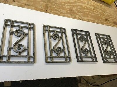 "Antique  cast iron decorative door/ window grate lot of 4- 6-1/2""x 10"" LOOK!!!!"