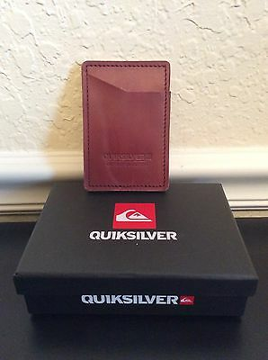 QUIKSILVER MENS GENUINE LEATHER RED Money Pocket Card Holder Wallet - NEW!!!