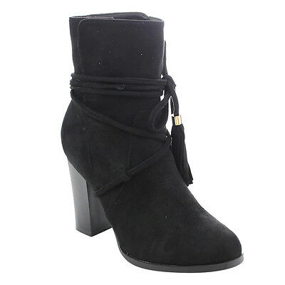 Women's Size 6 1/2 High Stacked Tassel Lace Wrap Pull On Ankle Bootie BLACK