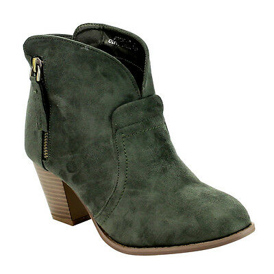 Women's Size 6 1/2 Side Zip Block Heel Ankle Booties 1.5 Size Small OLIVE GREEN