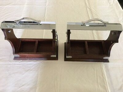 Pair of Two Bottle Locking Tantalus Style Wood and Chrome Decanter Lock Caddy