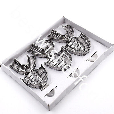 6 Pcs Metal Dental Stainless Steel Anterior Impression Trays Large Middle Small