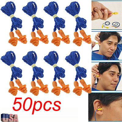 50 Pairs of Silicone Corded Ear Plugs Reusable Hearing Protection Earplugs Blue