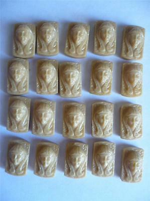 20 Light Caramel Glass Egyptian Lady Head~2 Hole Rectangle Beads~1920's or 30's