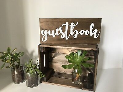Rustic Wedding Sign Guestbook Wood White