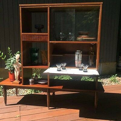 Mid-Century Modern Room Divider Wall Unit With Bar Mainline by Hooker