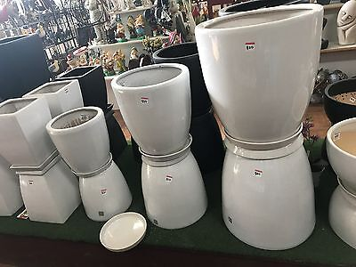 Oval Indoor/Outdoor Pots with Saucers - Black or White (various sizes)