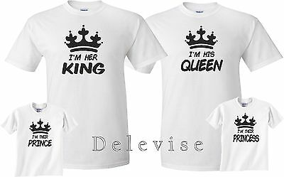 IM HER KING HIS Queen Their Prince Princess FAMILY matching T-Shirts