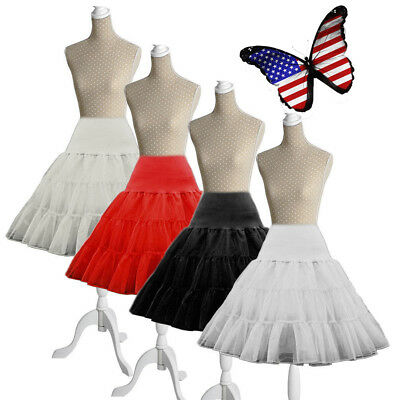 Lady Short Black Petticoat Slips Bridal Crinoline White Girl Underskirt Skirt