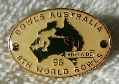 1996 8th WORLD BOWLS CHAMPS ADELAIDE BADGE