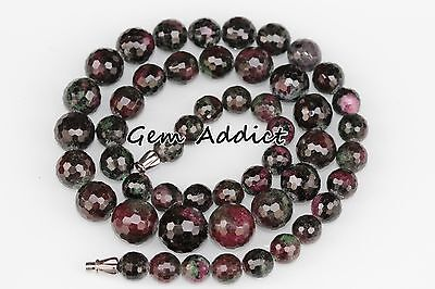 "Ruby Zoisite Faceted Round Beads 8-13mm 19"" Strand/19.75"" Necklace 68g/340cts"