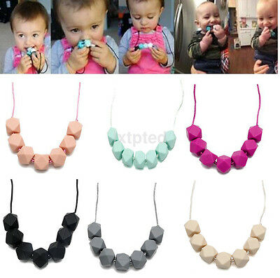 Teething Charm Silicone Necklace Beads Baby BPA-Free Polygon Cute Teether Chain~