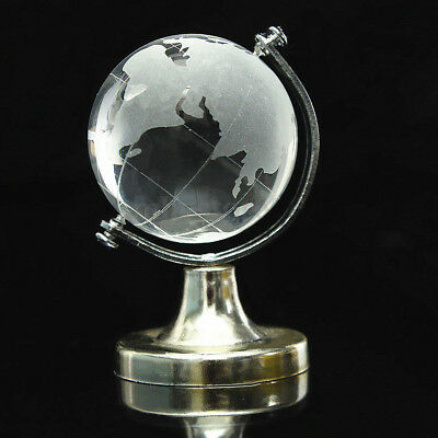 Clear Round Earth Globe World Map Crystal Glass Paperweight Stand Desk Decor