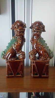 antique chinese pair foo dogs