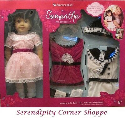 American Girl Samantha Doll Holiday Party Dress Outfit & Coat Set and Book NIB