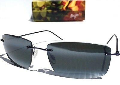b974039a8d3 NEW  Maui Jim SANDHILL Black Blue Rimless POLARIZED Neutral Grey Sunglass  715-06