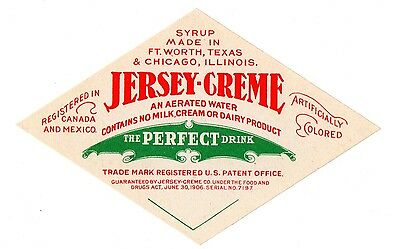 1906 Jersey - Creme, Fort Worth, Texas & Chicago, Illinois Soda Drink Label
