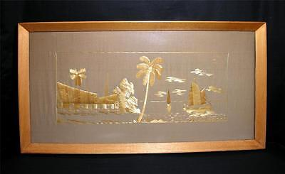 Large Vintage Chinese Straw-Work Panel 1960s Framed