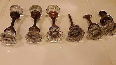 ANTIQUE FLUTED GLASS DOOR KNOBS plus lock key 2 plates and lock set