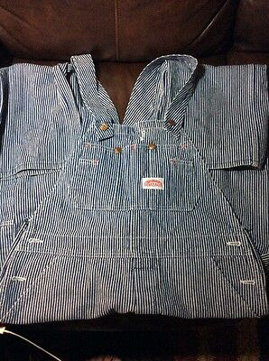 Vintage Mens ROUND HOUSE Striped Denim Conductor Engineer Overalls 34x30