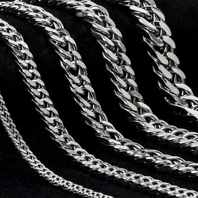 Fashion Men Jewelry Silver Curb Cuban Chain Stainless Steel Bracelet 3-12mm
