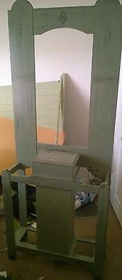 """Large Victorian Hall Stand Distressed Shabby Chic With Post Box Built In 74""""x30"""""""