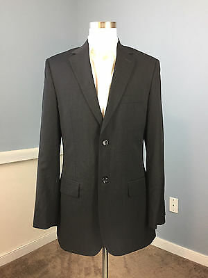 Pronto Uomo Charcoal Gray 100% Wool Suit Excellent 38 L flat front two button