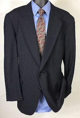 Mens Blue Striped HASTINGS Suit Jacket | 100% Wool 2 Button Sport Coat 44L
