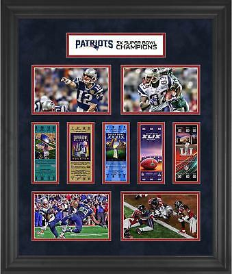 "New England Patriots Framed 23"" x 27"" 5-Time Super Bowl Champion Ticket Collage"