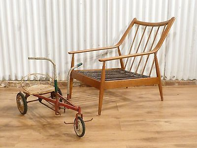 Stunning vintage oak danish lounge easy chair with cushions