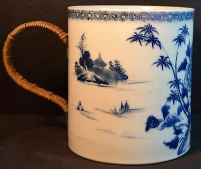 Antique Chinese Porcelain Blue and White Brush Pot With Handle