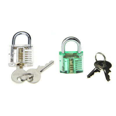Transparent+ green ABS+stainless steel Skill Training Practice Padlock Lock Tool