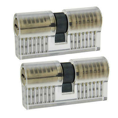2PCS Transparent ABS + stainless steel CrescentLockpick Practice Padlocks