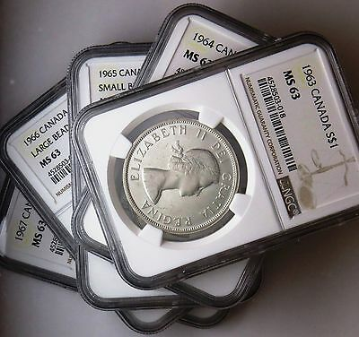 1963 to 1967 S$1 Canada Silver Dollars NGC MS 63 Five Coin Lot