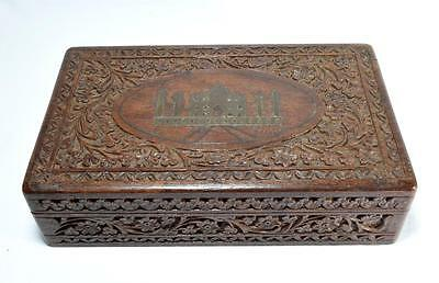 Antique Indian Rosewood Stationery Desk Box c1900-1920s