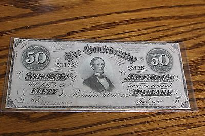 Confederate $50 currency note bill