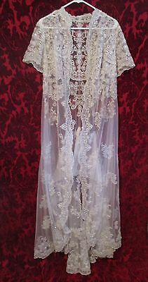 Vintage Net Silver Thread Beads Beaded Maxi Robe Jacket Gown Wedding Embroidered