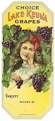 LAKE KEUKA Brand, ***AN ORIGINAL GRAPE BASKET LABEL*** G37, girl