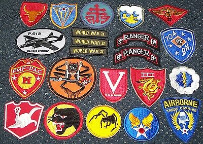 LOT OF REPRODUCTION Ww2 U s  & Novelty Patches