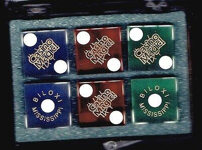 Casino Magic Hotel Casino, Biloxi,  3 Pairs Of Colorful Dice, Manufacturers Set