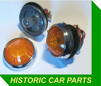 2 Amber Indicator Lights for ALVIS 3.0 TD21 Saloon & Coupe 1958-59 as Lucas L539
