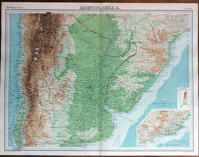 """ ARGENTINA, CHILE, &c. "" MAP (1922) Times Atlas of the World Pl.101"
