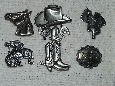 Vintage Lot Of 6 Western Style Button Covers Horse Bronco Rider Saddle